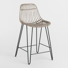 Rattan and Metal Hairpin Flynn Counter Stools Set of Gray by World Market - wright home / details - Design Rattan Furniture Rattan Counter Stools, Rattan Stool, Outdoor Bar Stools, Kitchen Stools, Rattan Furniture, Modern Furniture, Bar Furniture, Luxury Furniture, Boston Interiors