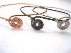 Spiral bangle bracelet or Upper arm cuff, armlet, copper, bronze, silver - your choice
