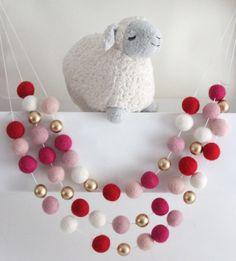 Victorian Valentine Felt Ball Garland Valentine's by SheepFarmFelt