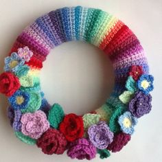 Crochet wreath using pattern from http://attic24.typepad.com/