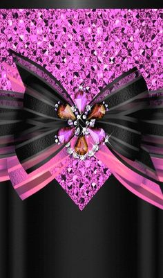 Black & Pink Bow Wallpaper...By Artist Unknown...