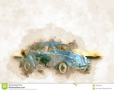 Illustration about Historicaly car VW Beetle in vintage watercolor style design for you posters and other pretty design. Illustration of road, retro, background - 109155488 Vw Beetles, Print Design, Watercolor, Art Prints, Illustration, Pretty, Poster, Fashion Design, Vintage