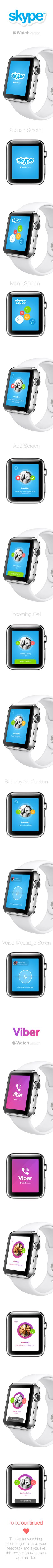 Apple Watch with Skype and Viber on Behance