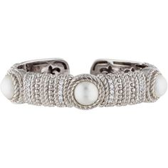 Pre-owned Judith Ripka Pearl and Crystal Cuff (400 CAD) ❤ liked on Polyvore featuring jewelry, bracelets, crystal jewelry, cream jewelry, hinged bangle, cuff jewelry and crystal stone jewelry