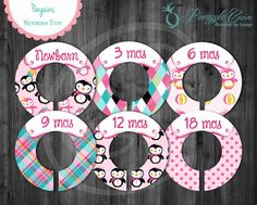 Penguins - Baby Girl Closet Dividers to Organize Clothing for Baby Room