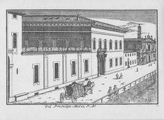 """Palazzo Melzi (scomparso), via Fatebenefratelli, Milano. Marc'Antonio Dal Re, """"Vedute di Milano"""", incisione 56 (ca. 1745)."""