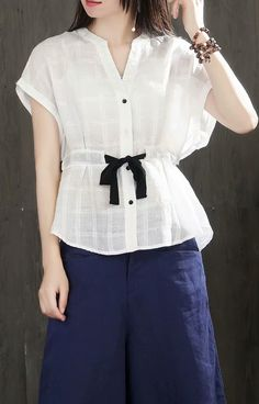 000ef32b191f4 Modern v neck linen cotton tunic top white Plus Size Clothing blouses  summer. Linen Blouse ...