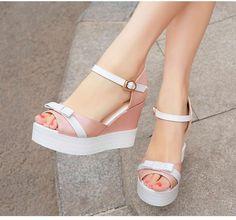 94fa8483d36 Knot Wedges Platform Sandals Ankle Straps Peep Toes Women Pumps Shoes Woman