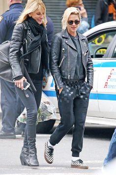 Kristen Stewart wearing Vans Checkerboard Authentic Sneakers.Png