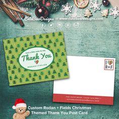 Custom Rodan + Fields Christmas Themed Thank You Post Card