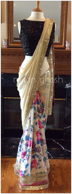 Printed crepe and georgette Saree With a different blouse though