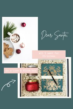 Luxe & Bloom Christmas Gift Ideas. Christmas gift boxes. Christmas list. Curated gift boxes. Gift boxes for her. Christmas gifts for a friend.