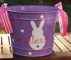Personalized volleyball easter basket pail monogram easter basket personalized easter basket monogrammed easter bunny bucket easter pail easter egg hunt easter party favor monogrammed bunny boy girl negle Choice Image
