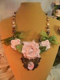 Romantic Pink Floral Necklace with Pearls Crystals by MockiDesigns, $79.00
