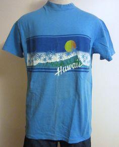 Vintage Amazing 80s HAWAII SUNSET GRAPHIC Classic Surf Beach Hanes Medium Hip Rad Cotton T-Shirt