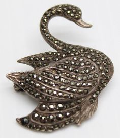Vintage Danecraft Swan Duck Bird Brooch Pin Sterling Silver w/ Marcasite