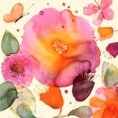 Margaret Berg : florals / spring: Roses & Butterflies