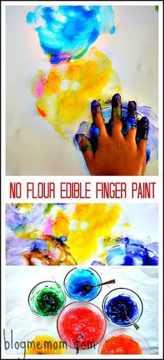 No flour, finger paint recipe with all edible ingredients.. Fantastic texture.Kids were engaged in sensory play and process art. for a really long time..Also no kid is ever too old for finger paint! #artactivities #sensoryplay #playrecipes