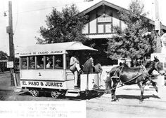 """Circa 1882, Mule Car No. 1. West side of 100 block of S. El Paso Street. """"Typical of El Paso's transportation system from 1882 to January 1902."""""""