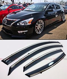 Cuztom Tuning Premium Smoke Tinted Window Visor Rain Guard Deflector W/Clips & Chrome Trim Fits for Nissan Altima 4 Door Sedan Nissan Hardbody, Automotive Solutions, Dark Smoke, Video Installation, Nissan Altima, Visors, Old Trucks, Cool Cars, Dream Cars
