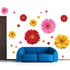 6 designs creative daisy sakura flowers pot wall stickers home decorations 6008. diy vine decals living room mural art posters #Affiliate