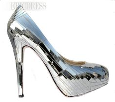 Glittering Silver Platform Stiletto Heels Closed-toe Prom/Evening Shoes. #weddingshoes