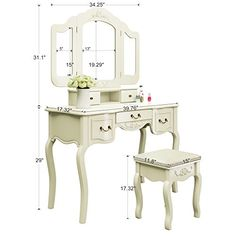 tribesigns french vintage ivory white vanity dressing table set makeup desk with stool u mirror bedroom