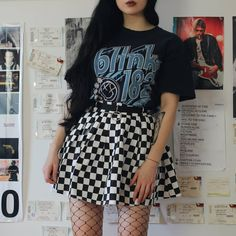 Look 1 or I found both of these Blink 182 shirts in a second hand shop the other day and I love them so much! Dark Fashion, Grunge Fashion, I Love Fashion, 90s Fashion, Fasion, Grunge Outfits, Edgy Outfits, Aesthetic Photo, Aesthetic Clothes