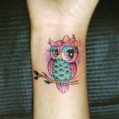 Cute Little Owl Tattoo by Arnaz