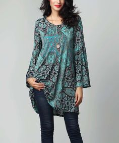 Another great find on #zulily! Aqua Paisley Bell-Sleeve Tunic by Reborn Collection #zulilyfinds