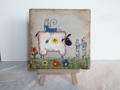Mini Canvas With Easel   Primitive Sheep Spring     Hand Painted - pinned by pin4etsy.com