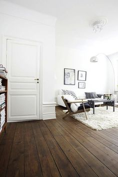 Old wooden floors with black and white furniture.
