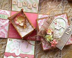 Exploding box for a little girl... Welcome! My latest work I am sharing with you is an exploding box for a little baby girl. I chose patterned paper and paper items in pa...