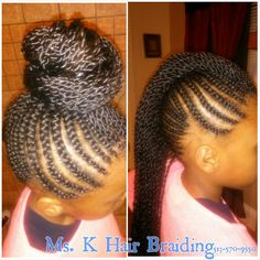 Cornrows into a Mohawk with single Senegalese twists to make for bigger and fuller bun