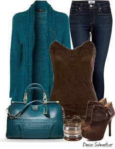 """Teal and Brown #2"" by denise-schmeltzer on Polyvore"