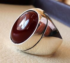 aqeeq red liver agate carnelian natural stone semi precious cabochon oval heavy man ring sterling silver bronze all sizes fast shipping Mens Silver Rings, Sterling Silver Rings, Royal Rings, Men's Jewelry Rings, Black Rings, Carnelian, Bracelets For Men, Ring Designs, Natural Gemstones