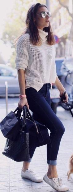 Street fashion | Casual chic knitted turtle neck, denim, sneakers, handbag
