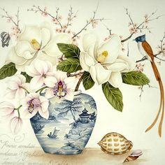 Kelly Higgs original painting Magnolias and Cymbidium orchids with cherry blossom, shells and Paradise Flycatcher. Classic chinoiserie. #kellyhiggs #kellyhiggsbotanicalart #chinoiserie #chinoiseriechic #chinoiseriestyle #blueandwhite #flowersofinstagram #flowerpainting
