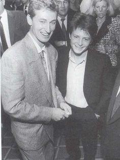 """The Great One"", Wayne Gretzky, retired hockey player and Michael J. Fox, both Canadian-born! Canadian Things, I Am Canadian, Canadian History, Canadian People, Ontario, Toronto, Michael J Fox, Happy Canada Day, Wayne Gretzky"