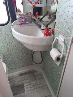 Caravan Hacks, Camper Caravan, Camper Trailers, Sink Toilet Combo, Caravan Paint, Camper Bathroom, Caravan Makeover, Rv Homes, Vintage Caravans