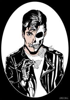 Alex Turner Arctic Monkeys Skull Art Prints by by zombieCraig