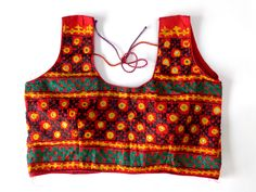 Bollywood Style Sleeveless Blouse - readymade Fashion wear Cotton Blouse - Kutch embroidery Blouse