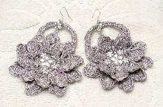 Orecchini uncinetto fiori argento