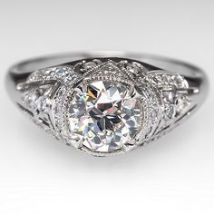 Vintage Filigree Old Euro Engagement Ring Platinum