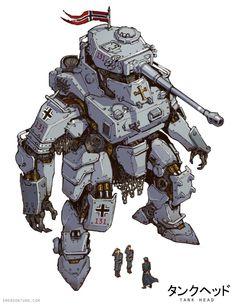 Done for my dieselpunk project Tankhead Robot Concept Art, Armor Concept, Fantasy Kunst, Fantasy Art, Character Concept, Character Art, Zoids, Arte Robot, 8bit Art