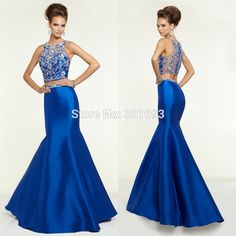 Aliexpress.com : Buy  ONP146 Crystal Rhinestone Beaded Royal Blue Satin Mermaid 2 Piece Prom Dress 2015 from Reliable Prom Dresses suppliers on Oumeiya Wedding Dress Factory