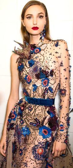 Beautiful fabric embellishment by international designer Elie Saab, 2016 www.eliesaab.com
