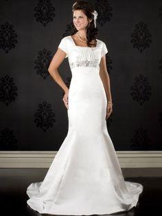 Brilliant Mermaid Square Court Satin Modest Wedding Dresses