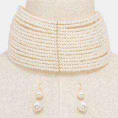 "14"" layered pearl bead 2.50"" wide choker collar bib necklace 1.60"" earrings"