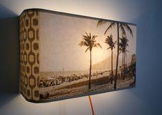 Applique 35X20 ou lampe  chevet murale motif graphique plage de Rio SEPIA